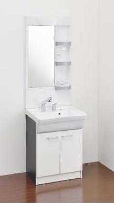 Ю####ジャニス/Janis【LU605CFJY+LUM6010SLH】洗面化粧台 フラットラインキャビ シャワー水栓 寒冷地 600幅 1面鏡 ヒーターつき