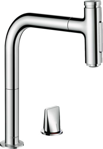 ###ハンスグローエ【73819000】クロム M71 2ホールシングルレバーキッチン混合水栓 セレクト 引出式 200 シャワー切替 受注生産品