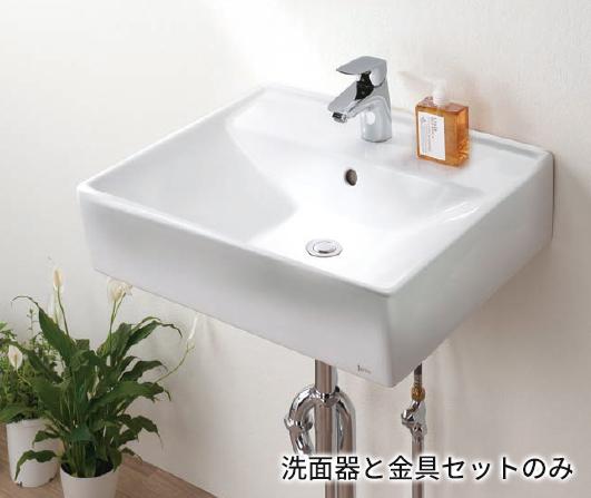 Ю####ジャニス/Janis【L553CFP+P69337】洗面器 金具セット スクエアライン 壁掛用