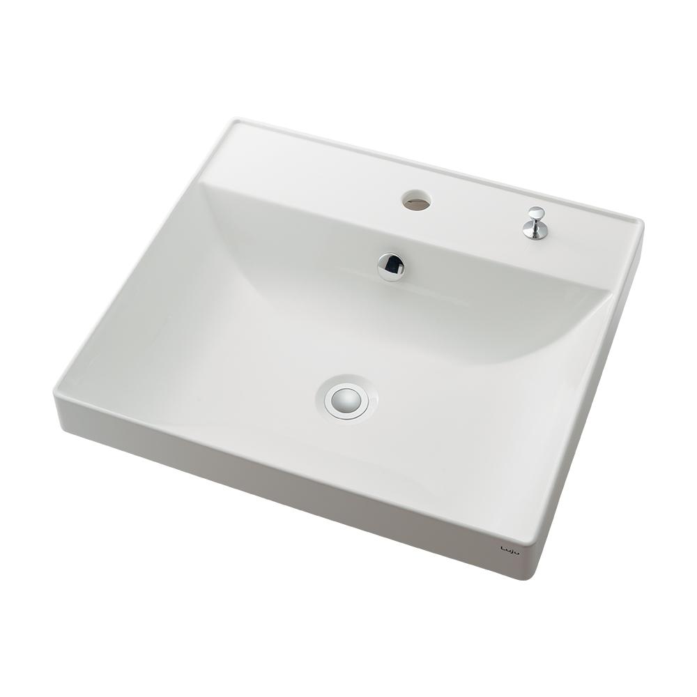 カクダイ【493-182H】角型洗面器 1ホール・ポップアップ独立つまみタイプ