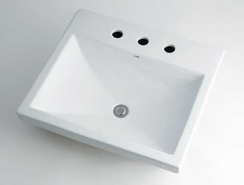 カクダイ【493-092】角型洗面器//3ホール