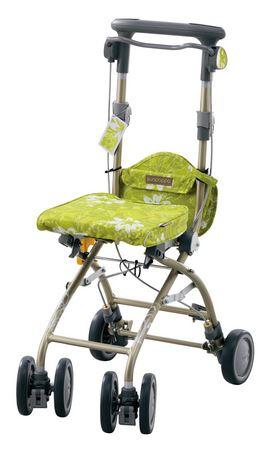 ###アロン化成 安寿【532-372】シルバーカー(歩行補助車) さんぽっぽ グリーン