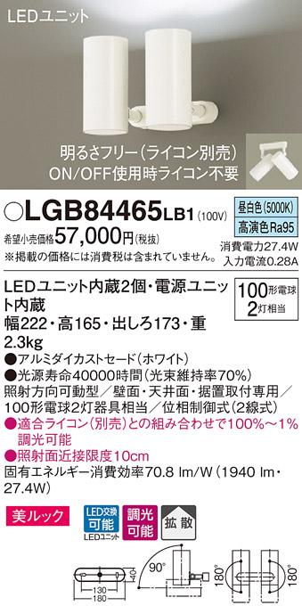 βパナソニック 照明器具【LGB84465LB1】LEDスポット100形×2拡散昼白色 {E}