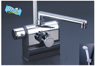 KVK 水栓金具【KF3008L】デッキ型サーモスタット式シャワー 可変ピッチ 左ハンドル仕様