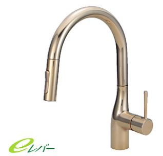 KVK 水栓金具【KM6061ECG】流し台用シングルレバー式シャワー付混合栓 金めっき