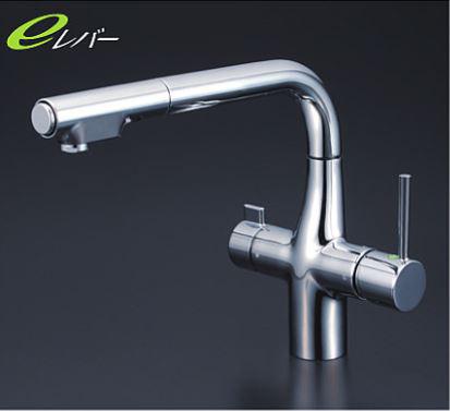 KVK 水栓金具【KM6121EC】浄水器専用シングルレバー式シャワー付混合栓 水栓本体のみ