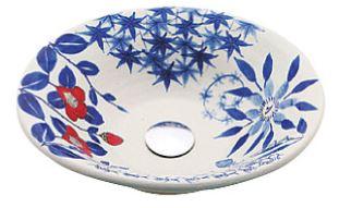 ≧KVK 洗面器【KV202S】美術工芸手洗鉢 信楽焼 四季絵赤