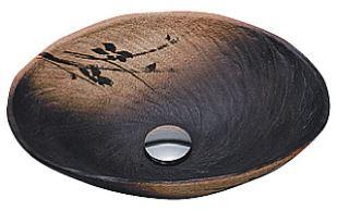 ≧KVK 洗面器【KV204S】美術工芸手洗鉢 信楽焼 黒釉小判