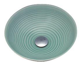 ≧KVK 洗面器【KV47A】美術工芸手洗鉢 天草陶石 青磁/六兵
