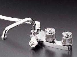 ###KVK 水栓金具【KF13ZGEC】デッキ形2ハンドルシャワー 左側シャワー 寒冷地用 受注生産