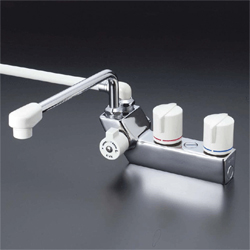 『カード対応OK!』KVK 水栓金具デッキ形一時止水付2ハンドルシャワー【KF207ZRR3】(寒冷地用)