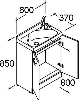 ###INAX/LIXIL 洗面化粧台 リフラ【FRVN-605YR-M】水栓右タイプ 間口600mm シングルレバー混合水栓(グースネック) ゴム栓 扉カラー:スタンダード マルチトラップ