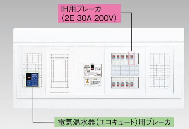 『カード対応OK!』●β東芝 電設資材【TFNPB13E6-102TL4NB】扉なし・機能付 電気温水器(エコキュート)+IH用(主幹60A)