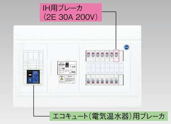 『カード対応OK!』●β東芝 電設資材【TFNPB3E7-262TL2B】扉なし・機能付 エコキュート(電気温水器)+IH用(主幹75A)