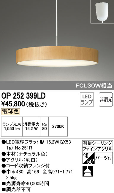 βオーデリック/ODELIC ペンダントライト【OP252399LD】LEDランプ 非調光 電球色 引掛シーリング