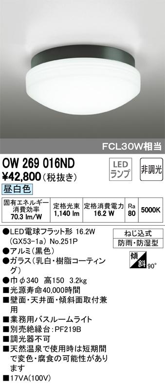 βオーデリック/ODELIC バスルームライト【OW269016ND】LEDランプ 非調光 昼白色 ねじ込式