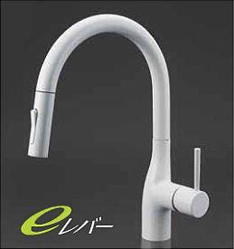 KVK 水栓金具【KM6061ECM4】マットホワイト 流し台用シングルレバー式シャワー付混合栓 グースネック シャワー引出しタイプ eレバー