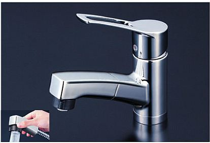 ∠《あす楽》◆15時迄出荷OK!KVK【KM8001TF】洗面用シングルレバー式シャワー付混合栓 シャワー引き出し式 ブレードホース・クイックファスナー式
