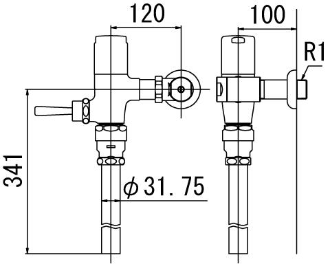 ▽INAX フラッシュバルブ 洗浄水量6-8L便器用【CF-6110UT-C】低圧用(節水形) 受注生産品