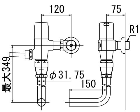 ▽INAX フラッシュバルブ 洗浄水量6-8L便器用【CF-T60-C】一般用(節水形) 受注生産品