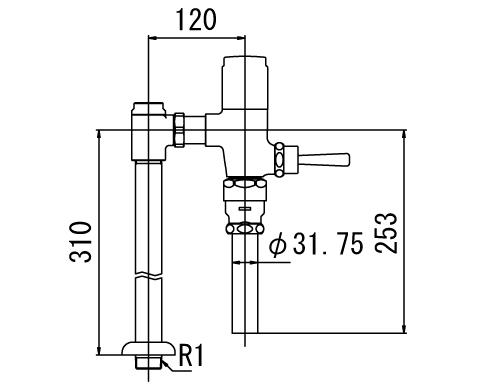 ▽INAX フラッシュバルブ 洗浄水量6-8L便器用【CF-T610B-C】一般用(節水形) 受注生産品
