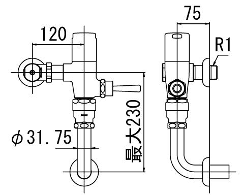 ▽INAX フラッシュバルブ 洗浄水量6-8L便器用【CF-T610K-C】一般用(節水形) 受注生産品