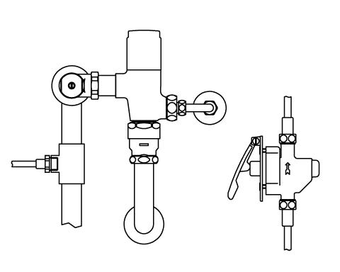 ▽INAX リモコンフラッシュバルブ 洗浄水量6-8L便器用 露出形(定流量弁付)【CFR-T610PK】 受注生産品