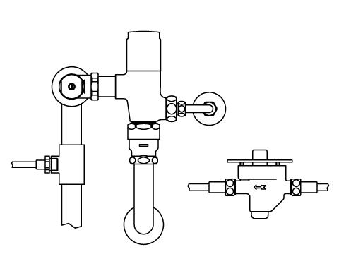 ▽INAX リモコンフラッシュバルブ 洗浄水量6-8L便器用 露出形(定流量弁付)【CFR-T610S-C】中水仕様 受注生産品