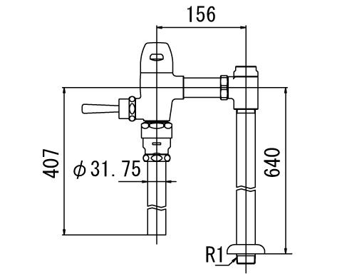 ▽INAX フラッシュバルブ 洗浄水量10-15L便器用【CF-5114UA-C】一般用(節水形) 受注生産品