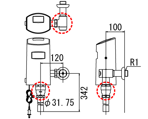 『カード対応OK!』INAX オートフラッシュCセンサー一体形【OKC-5110US】洗浄水量10-15L便器用