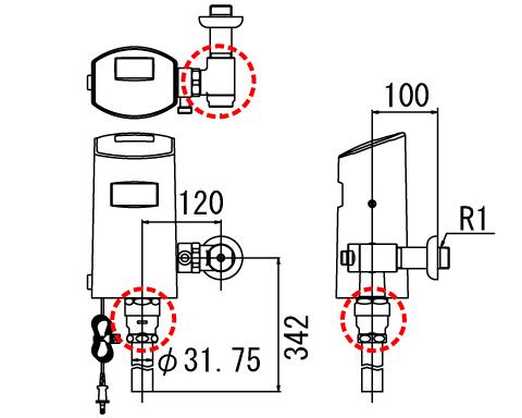 INAX/LIXIL【OKC-5110USCW】オートフラッシュC センサー一体形 シャワートイレ自動洗浄対応(壁給水形)