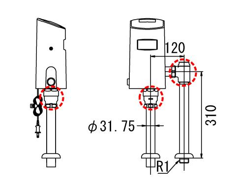 『カード対応OK!』INAX オートフラッシュCセパレート形 フラッシュバルブ【OKC-T610S】洗浄水量6-8L便器用(定流量弁付フラッシュバルブ)