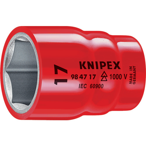 ■〒KNIPEX社/KNIPEX ハンドツール【9847-7/8】(8356547)KNIPEX 絶縁1000Vソケット 1/2 7/8 受注単位6