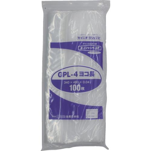 ■〒生産日本社/セイニチ 袋【GP L-4 YOKONAGA】(8290168)セイニチ 「ユニパックGP」L-4 ヨコ長 340×480×0.04 100枚 受注単位9