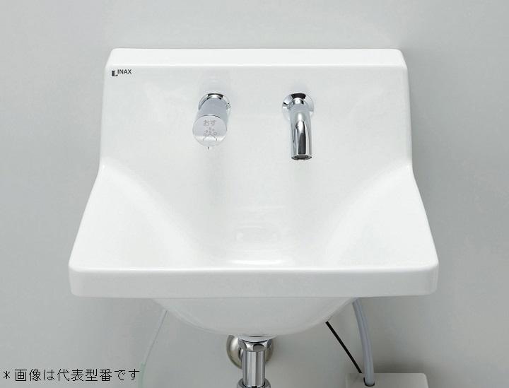 ###INAX/LIXIL【L-A951A2A】ハイバックガード洗面器 Mサイズ 自動水栓 単水栓 100V 床排水(Sトラップ) 壁給水