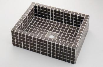 カクダイ【493-143-GB】角型洗面器//グレーブラウン