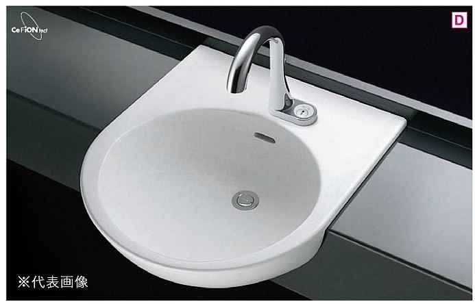###TOTO カウンター式洗面器 セット品番【L830CRU+TEN77G1】はめ込み丸形洗面器 セルフリミング式 台付自動水栓(単水栓) 壁排水金具(Pトラップ)