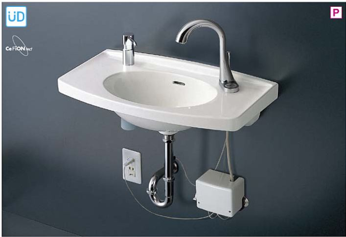 ###TOTO 壁掛洗面器 セット品番【L270CM+TEN87G1】カウンター一体形 台付自動水栓(サーモ) 床排水金具(Sトラップ)