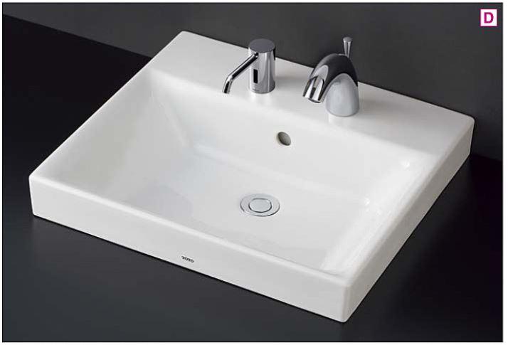 ホワイト ###TOTO 壁排水金具(Pトラップ) カウンター式洗面器 台付自動水栓(単水栓) セット品番【LS722CM#NW1+TENA41A】ベッセル式
