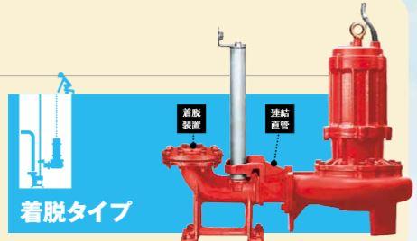 川本 ポンプ【BUW805-5.5】50Hz 着脱タイプ 200V品 BUW形 高効率ノンクロッグ 汚物水中ポンプ 4極