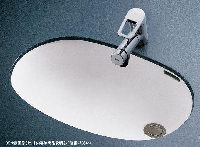 ###TOTO セット品番【L587U+TLG05301J】カウンター式洗面器 アンダーカウンター式 台付シングル混合水栓(エコシングル) 床排水金具(Sトラップ)