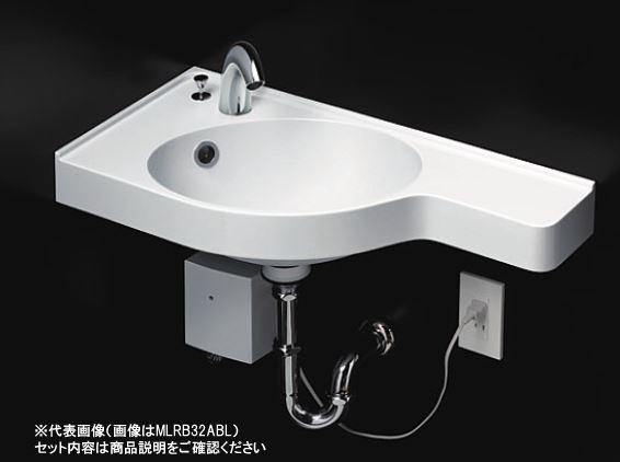 TOTO セット品番【MLRB32AAL#NW1+TLS01303JA】壁掛洗面器 ホワイト カウンター一体形コーナー洗面器(樹脂製) 台付シングル混合水栓 床排水金具(Sトラップ)