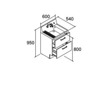 ###INAX/LIXIL ピアラ【AR3FH-605SYN】ミドルグレード 洗面化粧台本体 フルスライドタイプ 寒冷地 シングルレバーシャワー水栓 間口600mm