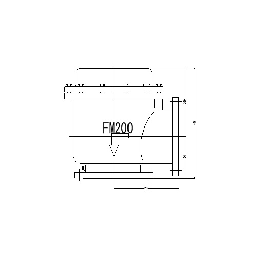 FMバルブ製作所【FMバルブ 1型 200A】(アングル型) 定水位弁 取付タイプ(フランジ型) 本体材質:FCD450