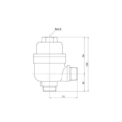 FMバルブ製作所【FMバルブ 1型 25A】(アングル型) 定水位弁 取付タイプ(ねじ込み型(R)) 本体材質:CAC901