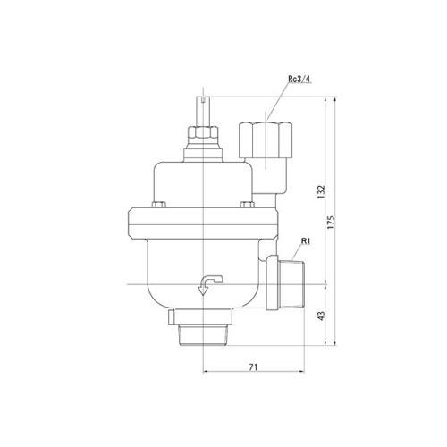 FMバルブ製作所【FMバルブ 3型 25A】(アングル型) 定水位弁 取付タイプ(ねじ込み型(R)) 本体材質:CAC901