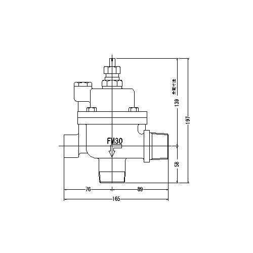 FMバルブ製作所【FMバルブ 3L型 30A】(アングル型) 定水位弁 取付タイプ(ねじ込み型(R)) 本体材質:CAC901