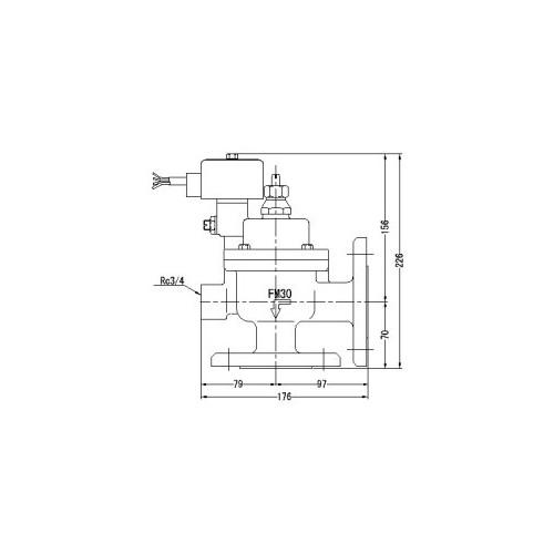 FMバルブ製作所【FMユニットバルブ A-2F型 30A】(アングル型) 電磁弁一体型定水位弁 取付タイプ(通電「開」AC100/200V共用 フランジ型) 本体材質:CAC901