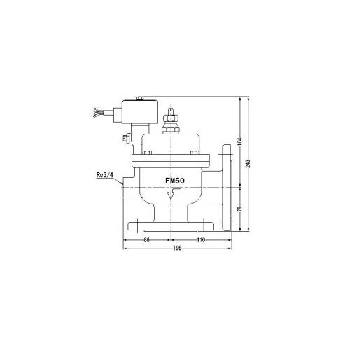 FMバルブ製作所【FMユニットバルブ A-2F型 50A】(アングル型) 電磁弁一体型定水位弁 取付タイプ(通電「開」AC100/200V共用 フランジ型) 本体材質:CAC901