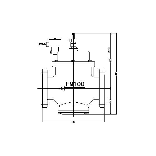 FMバルブ製作所【FM電磁弁 PS-1型 100A AC100/200V】手動開閉弁付 通電「開」AC100/200V共用 取付タイプ(フランジ型) 本体材質:CAC901